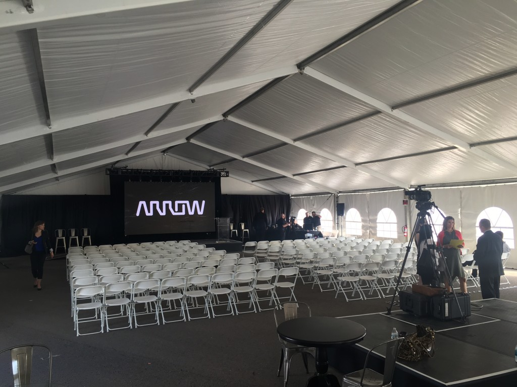 tent for Las Vegas press conference