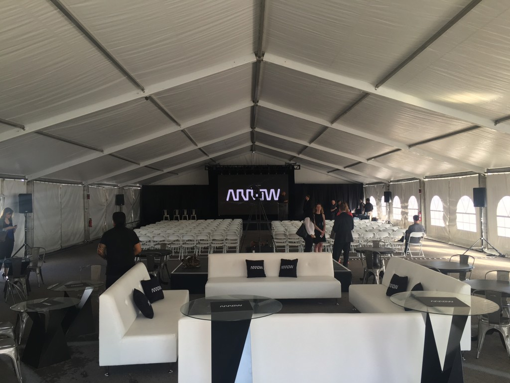 tent rental for Las Vegas press conference